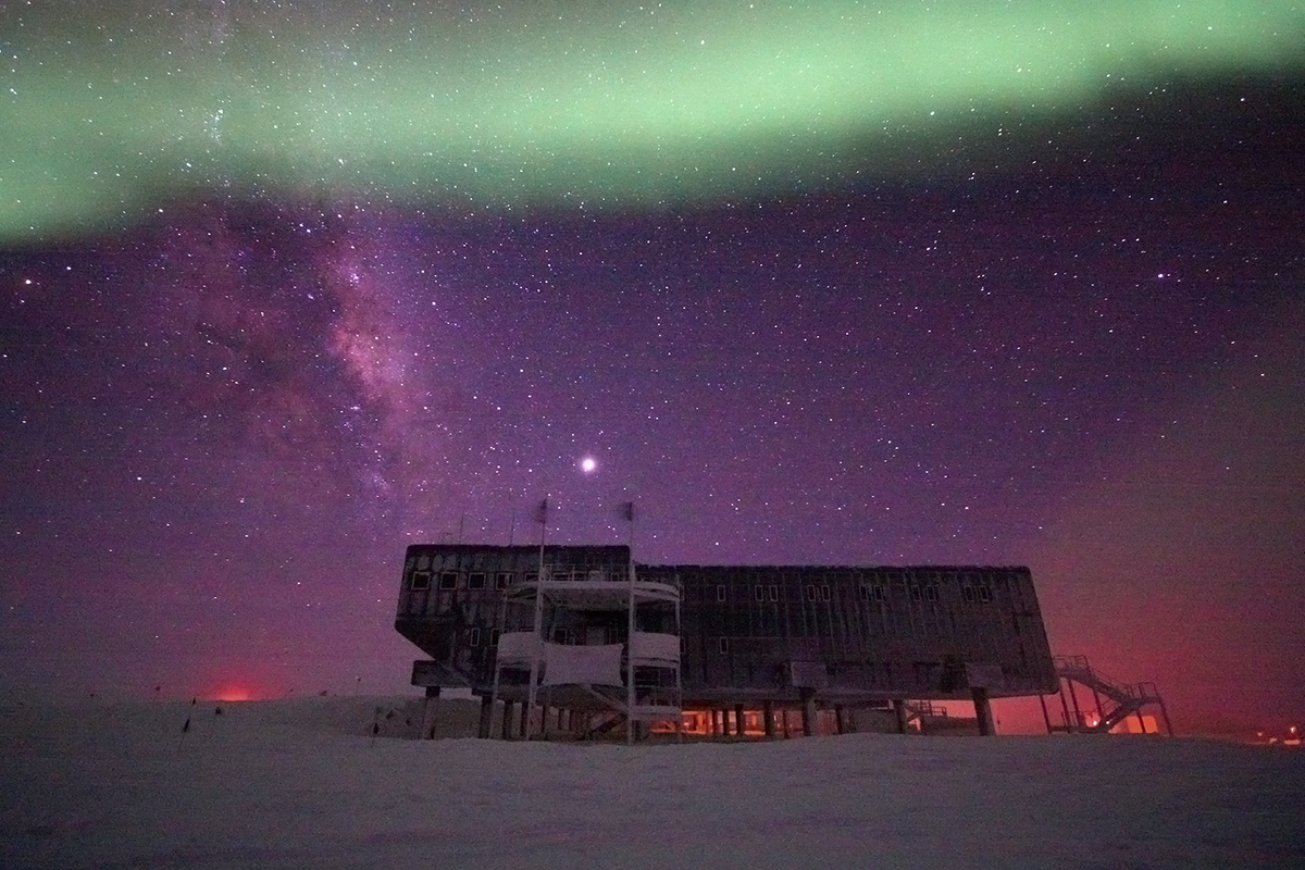 South Pole Station under Aurora