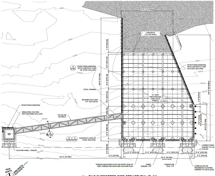 site drawing from the 35 percent design for the new Palmer pier